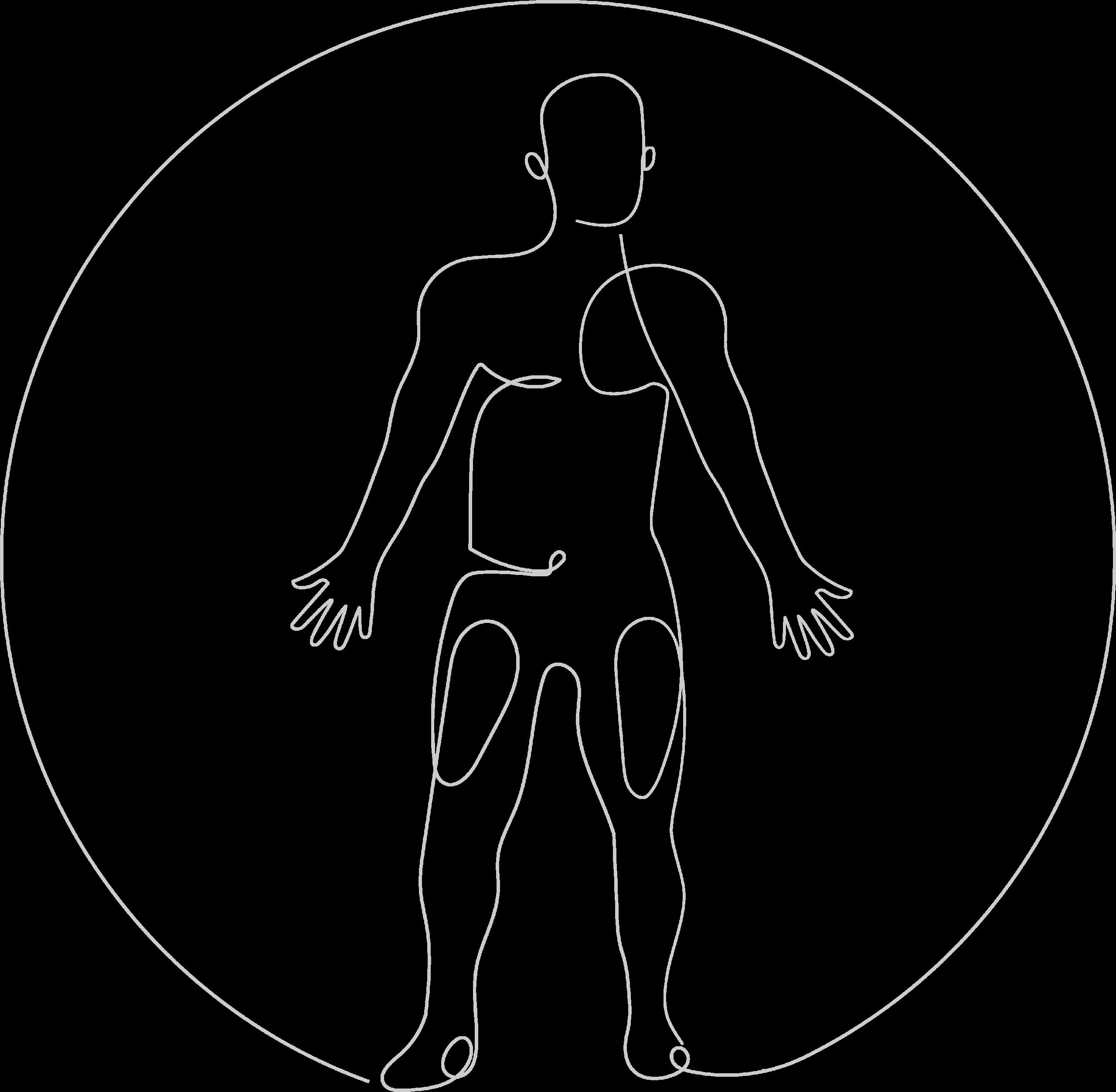 Dr. Scarlett Lewitschnig - Ihre Expertin für Schilddrüse und Komplementärmedizin - funktionelle Myodiagnostik - Illustration - Energie verbunden - human shape one line